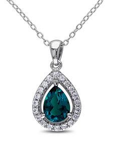 1 1/2 CT. T.G.W. Emerald & White Sapphire Sterling Silver Teardrop Pendant