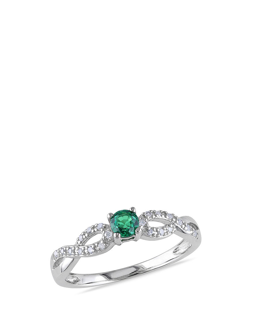 1 10 ct t g w created emerald infinity ring