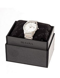 Bulova Stainless Steel Link Watch – Gift Boxed