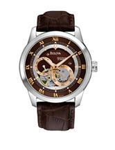 Bulova Men's Brown Leather Round Analog Dress Watch