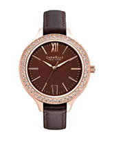 Caravelle New York by Bulova Brown Leather Crystal Watch – Ladies