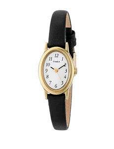 Timex Classic Cavatina Black Leather Oval Watch – Ladies