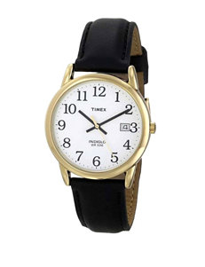 Timex Easy Reader Black Leather Round Analog Watch – Men's
