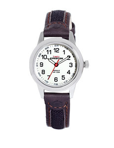 Timex Expedition Brown Leather Round Analog Watch – Ladies