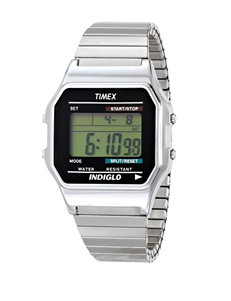 Timex Silver-Tone 80's Retro Style Digital Dress Watch – Men's