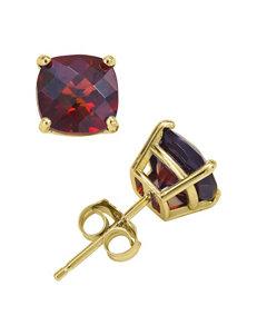 14K Yellow Gold 6mm Garnet Stud Earrings