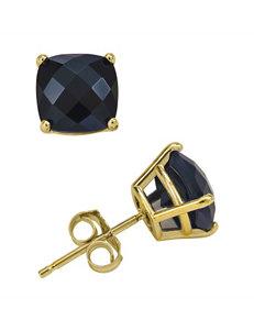 14K Yellow Gold 6mm Onyx Stud Earrings