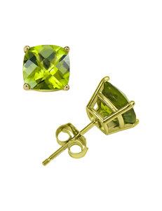 14K Yellow Gold 6mm Peridot Stud Earrings