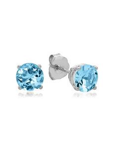 MaxColor 10K White Gold Round Blue Topaz Stud Earrings – Ladies