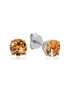 MaxColor 10K White Gold Round Citrine Stud Earrings – Ladies