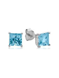 Max Color 10K White Gold Princess-Cut Blue Topaz Stud Earrings