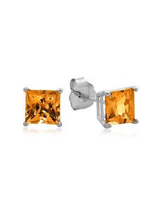 Max Color 10K White Gold Princess-Cut Citrine Stud Earrings