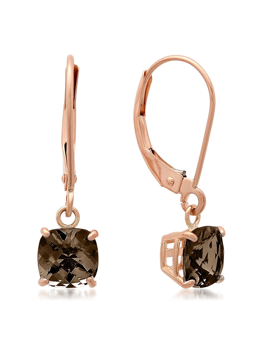 Max Color Rose Gold Drops Earrings Fine Jewelry