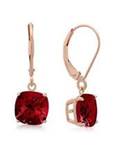 Max Color 10K Rose Gold Cushion-Cut Garnet Drop Earrings