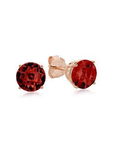 Max Color 10K Rose Gold Round-Cut Garnet Stud Earrings
