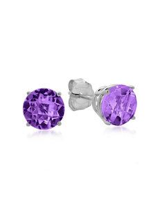 Max Color 10K White Gold Round Amethyst Stud Earrings