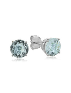 Max Color 10K White Gold Round Aquamarine Stud Earrings