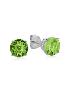 Max Color 10K White Gold Round Peridot Stud Earrings