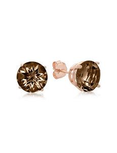 Max Color 10K Rose Gold Round-Cut Smoky Quartz Stud Earrings