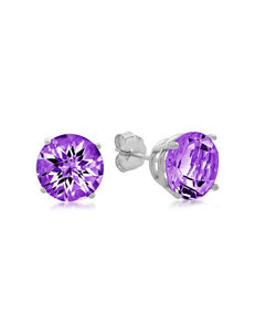 Max Color 10K White Gold Round-Cut Amethyst Stud Earrings