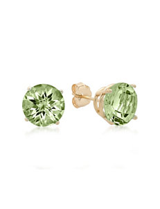 Max Color 10K Yellow Gold Round-Cut Green Amethyst Stud Earrings