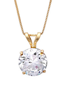 MaxColor 14K Yellow Gold Round Cubic Zirconia Necklace