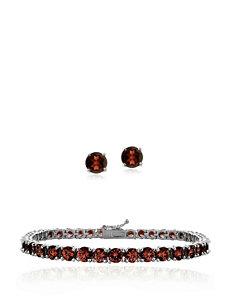 13 CT. T.W. African Garnet Bracelet & Stud Set