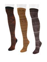 Muk Luks 3-pk. Brown Pack Over The Knee Socks –Ladies