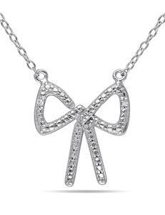 0.01 CT. T.W. Diamond Bow Necklace
