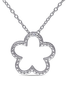 0.005 CT. TW Sterling Silver Diamond Flower Pendant