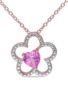 1 CT. TW Rose Plated Silver Pink Sapphire Flower Pendant