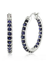 3.60 T.G.W. Created Blue Sapphire Hoop Earrings