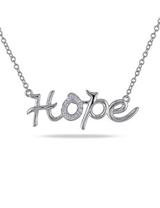 Sterling Silver 0.07 CT. T.W. Diamond Hope Necklace