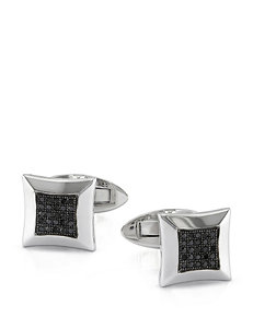 1/4 CT. T.W. Sterling Silver Black Diamond Cufflinks