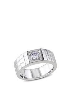 1/3 CT T.G.W. Sterling Silver Created White Sapphire Ring – Men's