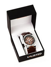 Unlisted Men's Brown Leather Strap Watch