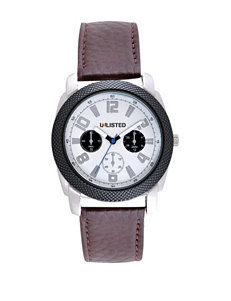 Unlisted Men's Black Textured Bezel Brown Leather Strap Watch
