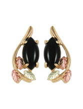 Black Hills Gold 10K Yellow Gold & Marquise Onyx Earrings