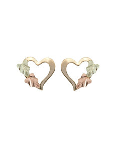 Black Hills Gold 10K Yellow Gold Open Heart Stud Earrings