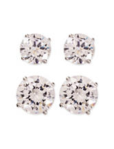 Sterling Silver 2-Pair CZ Stud Earrings Set