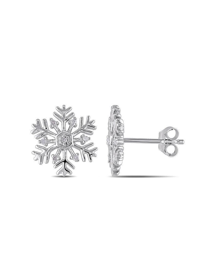 Concerto Diamonds Silver Studs Earrings Fine Jewelry