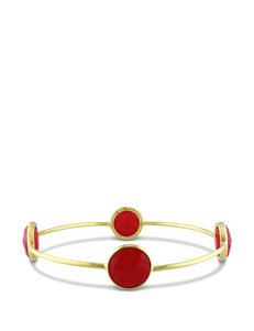 22K Yellow Gold Plated Created Carnelian Bangle Bracelet