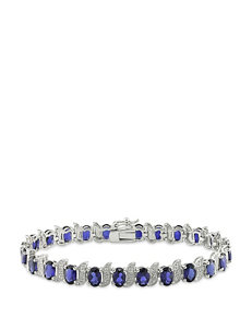 Sterling Silver Diamond & 13 1/5 CT. T.G.W. Created Blue Sapphire Bracelet