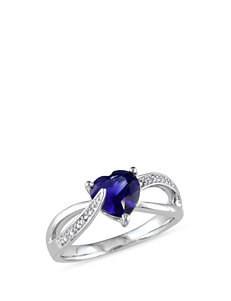 Sterling Silver Diamond & 1 7/8 CT. T.G.W. Created Blue Sapphire Ring