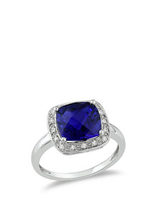 10K White Gold Diamond & 3 1/4 CT. T.G.W. Created Blue Sapphire Ring