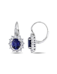 Sterling Silver Diamond & 8.06 CT. T.G.W. Created Sapphire Earrings