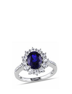 Sterling SIlver Diamond & 4 CT. T.G.W. Created Sapphire Ring