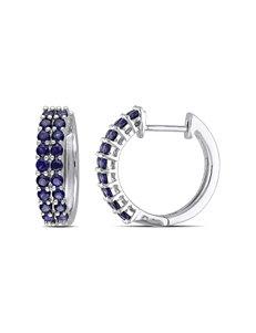 Sterling Silver 1.1 CT. T.W. Created Blue Sapphire Earrings