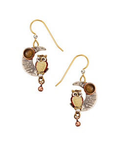 Silver Forest Silver-Tone Owl on the Moon Drop Earrings