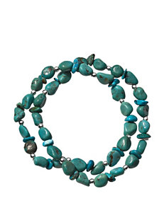 Sterling Silver 2-Strand Turquoise Stretch Bracelet